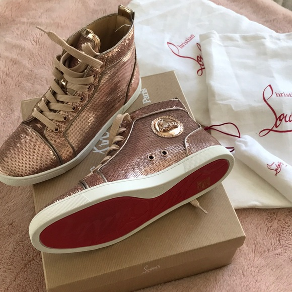 32a4623a765a Bip Bip Sequin High Top Sneaker in Nude. NWT. Christian Louboutin